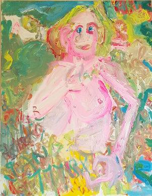 Schilderij van naaktmodel gemaakt door Marije Poot