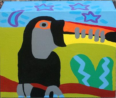 Schilderij van een toekan gemaakt door Nadine